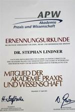 Mitgliedsurkunde APW Akademie Praxis und Wissenschaft