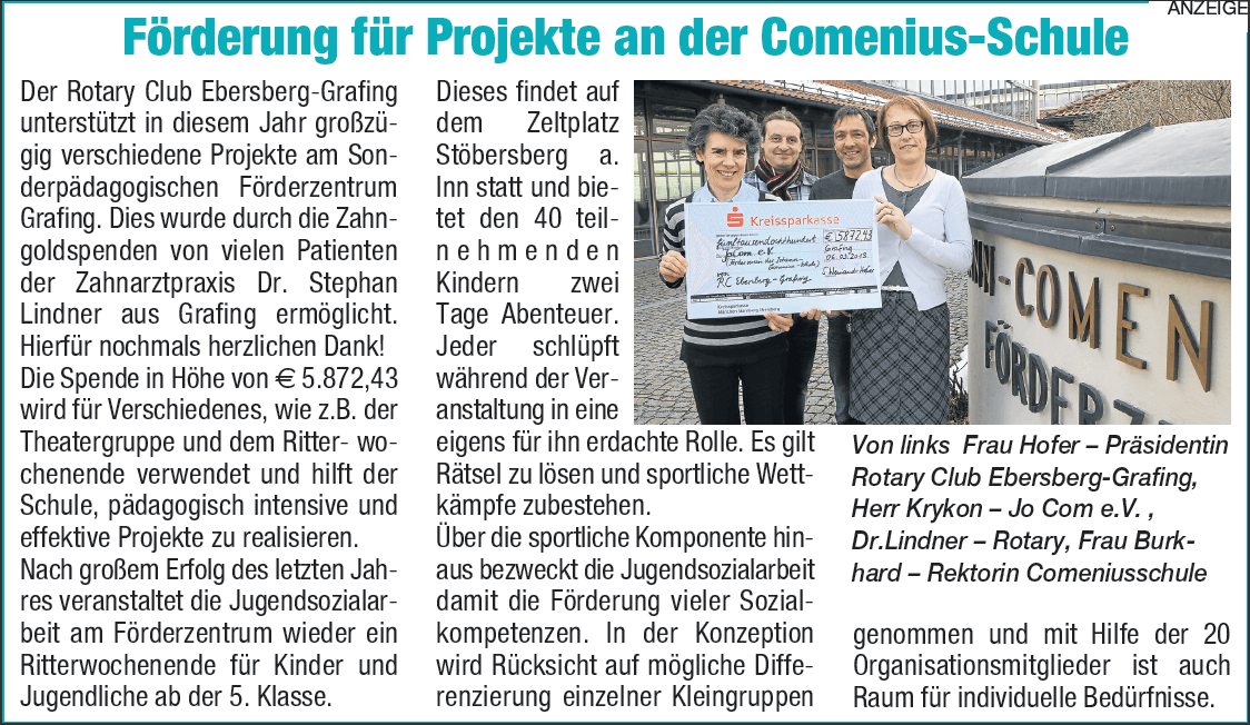 Artikel über Förderprojekt an der Comenius Schule