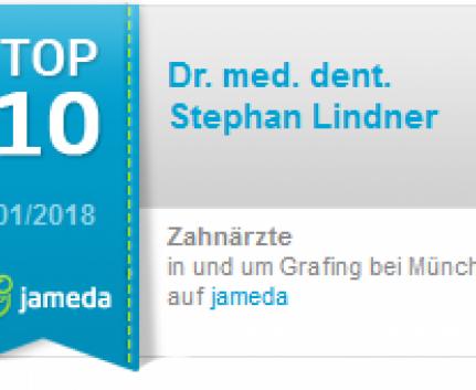 Jamedasiegel für Dr. Lindner als Top-10-Zahnarzt in Grafing